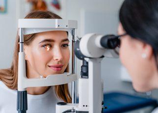The woman gets a regular comprehensive eye exam.