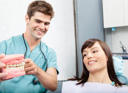 dentist showing gum sample